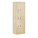 Salsbury Industries 3813S-2PSFP Surface Mounted 4C Horizontal Mailbox Unit-13 Door High Unit (49-1/8 Inches)-Single Column-Stand-Alone Parcel Locker-2 PL6's-Sandstone-Front Loading-Private Access