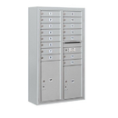 Salsbury Industries 3814D-15AFP Surface Mounted 4C Horizontal Mailbox Unit-14 Door High Unit (52-5/8 Inches)-Double Column-15 MB1 Doors / 1 PL5 and 1 PL6-Aluminum-Front Loading-Private Access