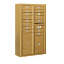 Salsbury Industries 3814D-15GFU Surface Mounted 4C Horizontal Mailbox Unit - 14 Door High Unit (52-5/8 Inches) - Double Column - 15 MB1 Doors / 1 PL5 and 1 PL6 - Gold - Front Loading - USPS Access
