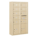 Salsbury Industries 3815D-09SFP Surface Mounted 4C Horizontal Mailbox Unit - 15 Door High Unit (56-1/8 Inches) - Double Column - 9 MB2 Doors / 2 PL5's - Sandstone - Front Loading - Private Access