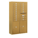 Salsbury Industries 3815D-16GFP Surface Mounted 4C Horizontal Mailbox Unit - 15 Door High Unit (56-1/8 Inches) - Double Column - 16 MB1 Doors / 2 PL6's - Gold - Front Loading - Private Access