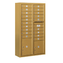 Salsbury Industries 3815D-19GFU Surface Mounted 4C Horizontal Mailbox Unit - 15 Door High Unit (56-1/8 Inches) - Double Column - 19 MB1 Doors / 1 PL4 and 1 PL5 - Gold - Front Loading - USPS Access