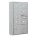 Salsbury Industries 3816D-07AFU Surface Mounted 4C Horizontal Mailbox Unit-Maximum Height Unit (57-7/8 Inches)-Double Column-1 MB2 Door / 6 MB3 Doors / 2 PL4.5's-Aluminum-Front Loading-USPS Access