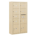 Salsbury Industries 3816D-07SFP Surface Mounted 4C Horizontal Mailbox Unit-Maximum Height Unit (57-7/8 Inches)-Double Column-1 MB2 Door/6 MB3 Doors/2 PL4.5's-Sandstone-Front Loading-Private Access