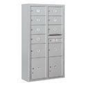 Salsbury Industries 3816D-09AFU Surface Mounted 4C Horizontal Mailbox Unit-Maximum Height Unit (57-7/8 Inches)-Double Column-7 MB2 Doors / 2 MB3 Doors / 2 PL4.5's-Aluminum-Front Loading-USPS Access