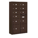 Salsbury Industries 3816D-09ZFP Surface Mounted 4C Horizontal Mailbox Unit-Maximum Height Unit (57-7/8 Inches)-Double Column-7 MB2 Doors / 2 MB3 Doors / 2 PL4.5's-Bronze-Front Loading-Private Access
