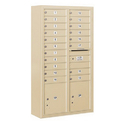Salsbury Industries 3816D-19SFU Surface Mounted 4C Horizontal Mailbox Unit - Maximum Height Unit (57-7/8 Inches) - Double Column - 19 MB1 Doors / 2 PL4.5's - Sandstone - Front Loading - USPS Access