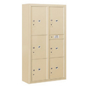 Salsbury Industries 3816D-6PSFP Surface Mounted 4C Horizontal Mailbox Unit-Maximum Height Unit(57-7/8 Inches)-Double Column-Stand-Alone Parcel Locker-Sandstone-Front Loading