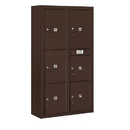 Salsbury Industries 3816D-6PZFU Surface Mounted 4C Horizontal Mailbox Unit-Maximum Height Unit(57-7/8 Inches)-Double Column-Stand-Alone Parcel Locker-Bronze-Front Loading