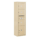 Salsbury Industries 3816S-03SFU Surface Mounted 4C Horizontal Mailbox Unit - Maximum Height Unit (57-7/8 Inches) - Single Column - 3 MB3 Doors / 1 PL4.5 - Sandstone - Front Loading - USPS Access