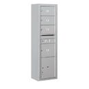 Salsbury Industries 3816S-04AFU Surface Mounted 4C Horizontal Mailbox Unit-Maximum Height Unit (57-7/8 Inches)-Single Column-3 MB2 Doors / 1 MB3 Door / 1 PL4.5-Aluminum-Front Loading-USPS Access
