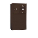 Salsbury Industries 3905D-03ZFP Free-Standing 4C Horizontal Mailbox Unit - 5 Door High Unit (48-1/4 Inches) - Double Column - 3 MB1 Doors / 1 PL5 - Bronze - Front Loading - Private Access