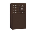 Salsbury Industries 3905D-07ZFP Free-Standing 4C Horizontal Mailbox Unit - 5 Door High Unit (48-1/4 Inches) - Double Column - 7 MB1 Doors - Bronze - Front Loading - Private Access