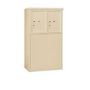 Salsbury Industries 3905D-2PSFP Free-Standing 4C Horizontal Mailbox Unit-5 Door High Unit (48-1/4 Inches)-Double Column-Stand-Alone Parcel Locker-2 PL5's-Sandstone-Front Loading-Private A