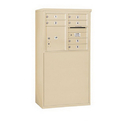 Salsbury Industries 3906D-06SFU Free-Standing 4C Horizontal Mailbox Unit - 6 Door High Unit (51-3/4 Inches) - Double Column - 6 MB1 Doors / 1 PL4 - Sandstone - Front Loading - USPS Access