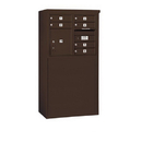 Salsbury Industries 3906D-06ZFP Free-Standing 4C Horizontal Mailbox Unit - 6 Door High Unit (51-3/4 Inches) - Double Column - 6 MB1 Doors / 1 PL4 - Bronze - Front Loading - Private Access