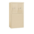 Salsbury Industries 3906D-2PSFP Free-Standing 4C Horizontal Mailbox Unit-6 Door High Unit (51-3/4 Inches)-Double Column-Stand-Alone Parcel Locker-2 PL6's-Sandstone-Front Loading-Private A