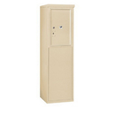 Salsbury Industries 3906S-1PSFU Free-Standing 4C Horizontal Mailbox Unit-6 Door High Unit (51-3/4 Inches)-Single Column-Stand-Alone Parcel Locker-1 PL6-Sandstone-Front Loading-USPS Access