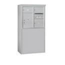 Salsbury Industries 3907D-03AFP Free-Standing 4C Horizontal Mailbox Unit-7 Door High Unit (55-1/4 Inches)-Double Column-2 MB2 Doors / 1 MB3 Door / 1 PL5-Aluminum-Front Loading-Private Access
