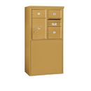 Salsbury Industries 3907D-03GFP Free-Standing 4C Horizontal Mailbox Unit - 7 Door High Unit (55-1/4 Inches) - Double Column - 2 MB2 Doors / 1 MB3 Door / 1 PL5 - Gold - Front Loading - Private Access
