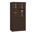 Salsbury Industries 3908D-09ZFP Free-Standing 4C Horizontal Mailbox Unit - 8 Door High Unit (58-3/4 Inches) - Double Column - 9 MB1 Doors / 1 PL5 - Bronze - Front Loading - Private Access