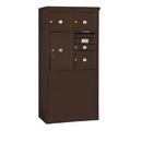 Salsbury Industries 3909D-04ZFP Free-Standing 4C Horizontal Mailbox Unit-9 Door High Unit (62-1/4 Inches)-Double Column-1 MB1 Door / 3 MB3 Doors / 1 PL6-Bronze-Front Loading-Private Access