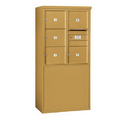 Salsbury Industries 3909D-05GFU Free-Standing 4C Horizontal Mailbox Unit - 9 Door High Unit (62-1/4 Inches) - Double Column - 5 MB3 Doors - Gold - Front Loading - USPS Access