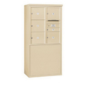Salsbury Industries 3909D-06SFP Free-Standing 4C Horizontal Mailbox Unit - 9 Door High Unit (62-1/4 Inches) - Double Column - 1 MB1 Door / 5 MB3 Doors - Sandstone - Front Loading - Private Access