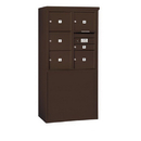 Salsbury Industries 3909D-06ZFP Free-Standing 4C Horizontal Mailbox Unit - 9 Door High Unit (62-1/4 Inches) - Double Column - 1 MB1 Door / 5 MB3 Doors - Bronze - Front Loading - Private Access
