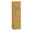 Salsbury Industries 3909S-2PGFU Free-Standing 4C Horizontal Mailbox Unit-9 Door High Unit (62-1/4 Inches)-Single Column-Stand-Alone Parcel Locker-1 PL4 and 1 PL5-Gold-Front Loading-USPS Access