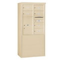 Salsbury Industries 3910D-06SFU Free-Standing 4C Horizontal Mailbox Unit - 10 Door High Unit (65-3/4 Inches) - Double Column - 6 MB2 Doors / 1 PL6 - Sandstone - Front Loading - USPS Access