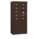 Salsbury Industries 3910D-09ZFP Free-Standing 4C Horizontal Mailbox Unit - 10 Door High Unit (65-3/4 Inches) - Double Column - 9 MB2 Doors - Bronze - Front Loading - Private Access