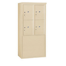 Salsbury Industries 3910D-4PSFP Free-Standing 4C Horizontal Mailbox Unit-10 Door High Unit (65-3/4 Inches)-Double Column-Stand-Alone Parcel Locker-4 PL5's-Sandstone-Front Loading-Private