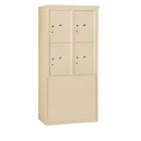Salsbury Industries 3910D-4PSFU Free-Standing 4C Horizontal Mailbox Unit-10 Door High Unit (65-3/4 Inches)-Double Column-Stand-Alone Parcel Locker-4 PL5's-Sandstone-Front Loading-USPS Access