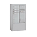 Salsbury Industries 3910DX-08AFP Free-Standing 4C Horizontal Mailbox ADA Height Compliant Unit-10 Door High Unit (52-3/4 Inches)-Double Column-8 MB1 Doors / 2 PL5's-Aluminum-Front Loading-Private
