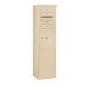 Salsbury Industries 3910S-03SFP Free-Standing 4C Horizontal Mailbox Unit - 10 Door High Unit (65-3/4 Inches) - Single Column - 3 MB1 Doors / 1 PL5 - Sandstone - Front Loading - Private Access