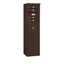 Salsbury Industries 3910SA-04ZFP Free-Standing 4C Horizontal Mailbox Unit - 10 Door High Unit (65-3/4 Inches) - Single Column - 4 MB1 Doors / 1 PL4.5 - Bronze - Front Loading - Private Access