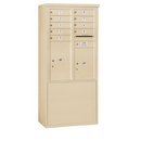 Salsbury Industries 3911D-09SFP Free-Standing 4C Horizontal Mailbox Unit-11 Door High Unit (69-1/4 Inches)-Double Column-9 MB1 Door / 1 PL5 and 1 PL6-Sandstone-Front Loading-Private Access