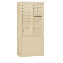 Salsbury Industries 3911D-10SFU Free-Standing 4C Horizontal Mailbox Unit - 11 Door High Unit (69-1/4 Inches) - Double Column - 10 MB1 Doors / 2 PL5's - Sandstone - Front Loading - USPS Access