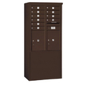 Salsbury Industries 3911D-10ZFP Free-Standing 4C Horizontal Mailbox Unit - 11 Door High Unit (69-1/4 Inches) - Double Column - 10 MB1 Doors / 2 PL5's - Bronze - Front Loading - Private Access