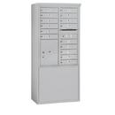 Salsbury Industries 3911D-15AFU Free-Standing 4C Horizontal Mailbox Unit - 11 Door High Unit (69-1/4 Inches) - Double Column - 15 MB1 Doors / 1 PL5 - Aluminum - Front Loading - USPS Access