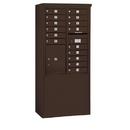 Salsbury Industries 3911D-15ZFU Free-Standing 4C Horizontal Mailbox Unit - 11 Door High Unit (69-1/4 Inches) - Double Column - 15 MB1 Doors / 1 PL5 - Bronze - Front Loading - USPS Access