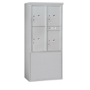 Salsbury Industries 3911D-4PAFU Free-Standing 4C Horizontal Mailbox Unit-11 Door High Unit (69-1/4 Inches)-Double Column-Stand-Alone Parcel Locker-3 PL5's/1 PL6-Aluminum-Front Loading-USPS Access