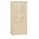 Salsbury Industries 3911D-4PSFU Free-Standing 4C Horizontal Mailbox Unit-11 Door High Unit(69-1/4 Inches)-Double Column-Stand-Alone Parcel Locker-3 PL5's/1 PL6-Sandstone-Front Loading-USPS Access
