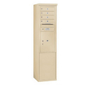 Salsbury Industries 3911S-04SFP Free-Standing 4C Horizontal Mailbox Unit - 11 Door High Unit (69-1/4 Inches) - Single Column - 4 MB 1 Doors / 1 PL5 - Sandstone - Front Loading - Private Access