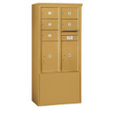 Salsbury Industries 3912D-05GFU Free-Standing 4C Horizontal Mailbox Unit - 12 Door High Unit (69-1/4 Inches) - Double Column - 5 MB2 Doors / 2 PL6's - Gold - Front Loading - USPS Access