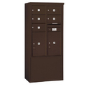 Salsbury Industries 3912D-05ZFP Free-Standing 4C Horizontal Mailbox Unit - 12 Door High Unit (69-1/4 Inches) - Double Column - 5 MB2 Doors / 2 PL6's - Bronze - Front Loading - Private Access