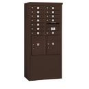Salsbury Industries 3912D-12ZFU Free-Standing 4C Horizontal Mailbox Unit - 12 Door High Unit (69-1/4 Inches) - Double Column - 12 MB1 Doors / 2 PL5's - Bronze - Front Loading - USPS Access