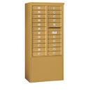 Salsbury Industries 3912D-22GFP Free-Standing 4C Horizontal Mailbox Unit - 12 Door High Unit (69-1/4 Inches) - Double Column - 22 MB1 Doors - Gold - Front Loading - Private Access