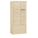 Salsbury Industries 3913D-07SFU Free-Standing 4C Horizontal Mailbox Unit - 13 Door High Unit (69-1/4 Inches) - Double Column - 7 MB2 Doors / 2 PL5's - Sandstone - Front Loading - USPS Access